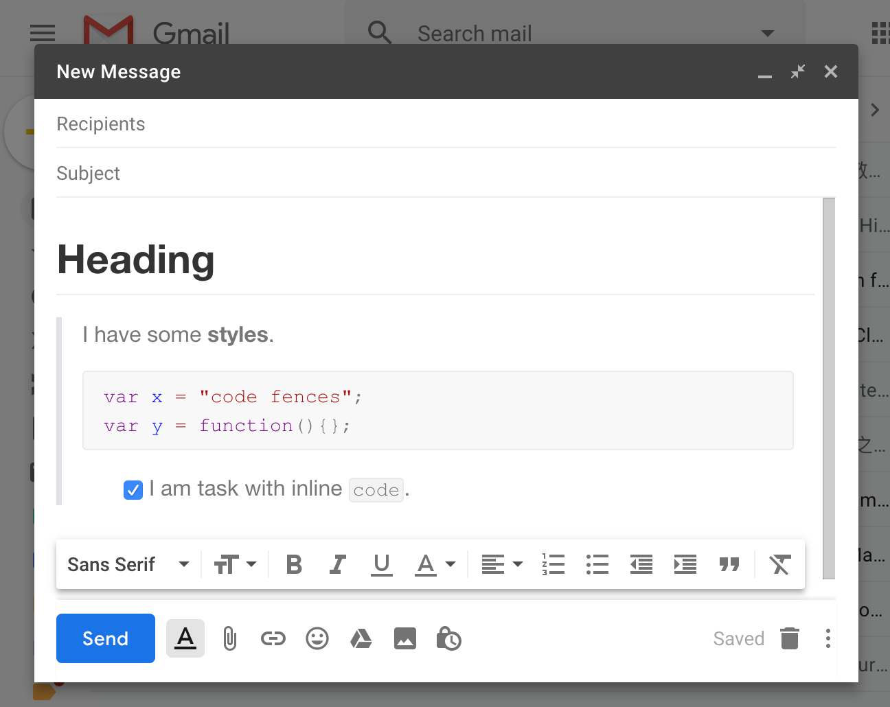 Paste into Gmail (wcontent with rich style will be pasted)